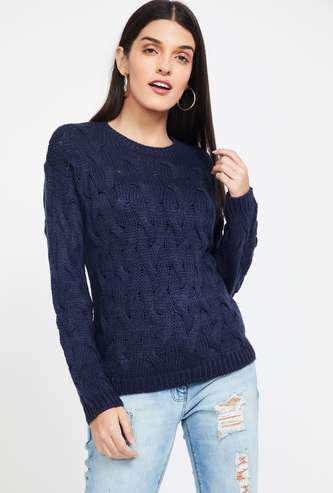 MADAME Textured Regular Fit Full Sleeves Sweater