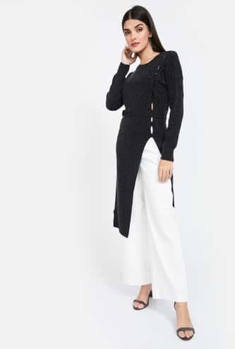 MADAME Textured Regular Fit Longline Sweater