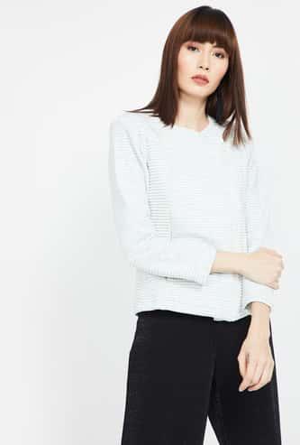 MADAME Striped Regular Fit Sweatshirt with Insert Pockets