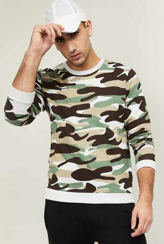 FAME FOREVER Men Camouflage Print Crew Neck Sweatshirt