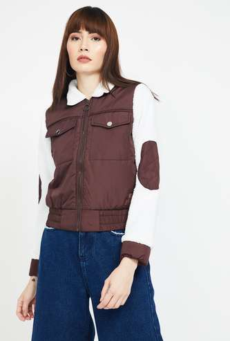 CAMPUS SUTRA Colourblock Bomber Jacket
