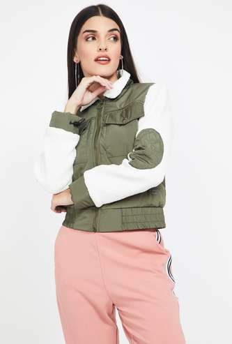 CAMPUS SUTRA Colourblocked Bomber Jacket