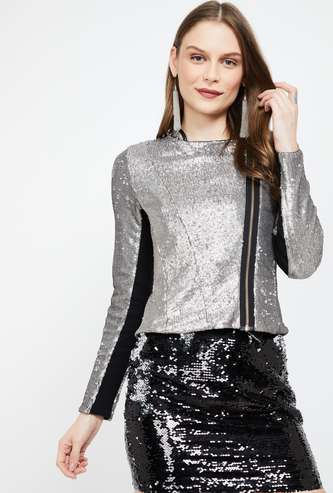 GINGER Embellished Zip-Closure Jacket