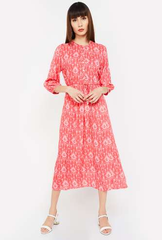 COLOUR ME Printed A-line Dress with Button Placket