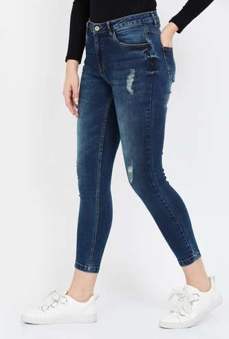 GINGER Dark Washed Distressed Skinny Cropped Jeans