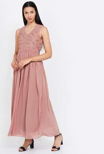 AND Embroidered V-neck Maxi Dress
