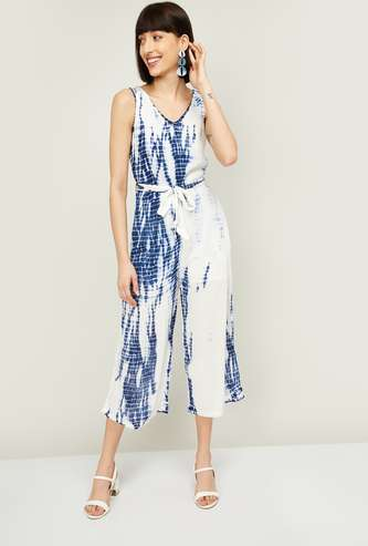 GINGER Women Dyed Sleeveless Cropped Jumpsuit