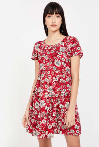 GINGER Floral Print Cap Sleeves A-line Dress