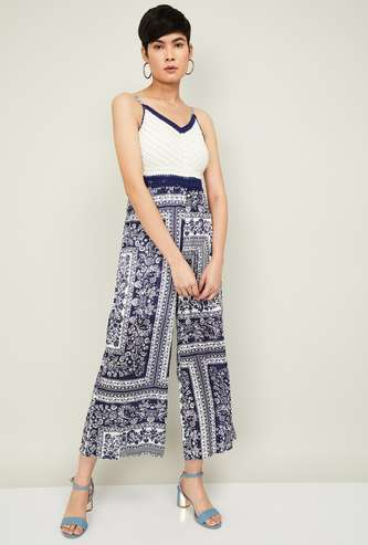 GINGER Women Printed Cropped Jumpsuit with Spaghetti Straps