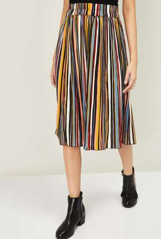 GINGER Women Striped A-line Midi Skirt