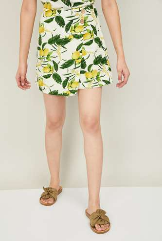 GINGER Women Botanical Print Wrap Skirt