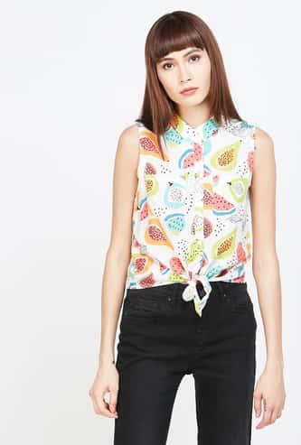 GINGER Women Printed Regular Fit Tie-Up Shirt