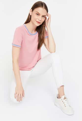 BOSSINI Solid Regular Fit Ringer T-shirt