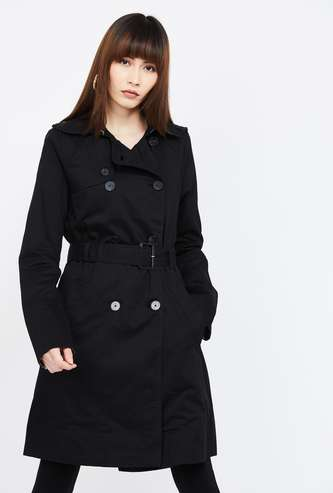 LEE COOPER Solid Trench Coat with Belt