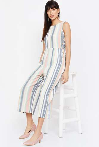 GINGER Striped Cropped Jumpsuit