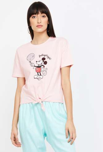 GINGER Mickey Mouse Print Short Sleeves Top