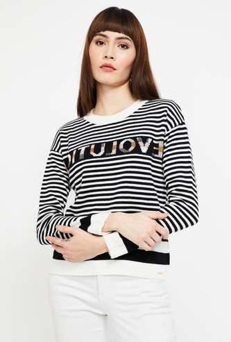 MADAME Striped Full Sleeves Regular Fit Sweater
