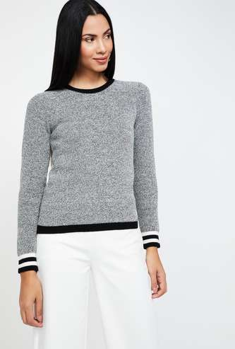 MADAME Textured Full Sleeves Sweater