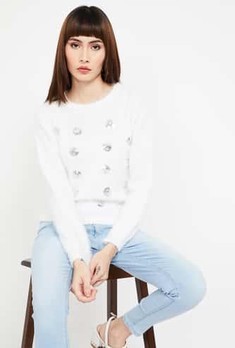 MADAME Embellished Full Sleeves Sweater