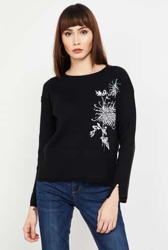 MADAME Jacquard Slit Sleeves Sweater