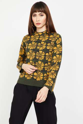 MADAME Floral Patterned Knit Full Sleeves Sweater