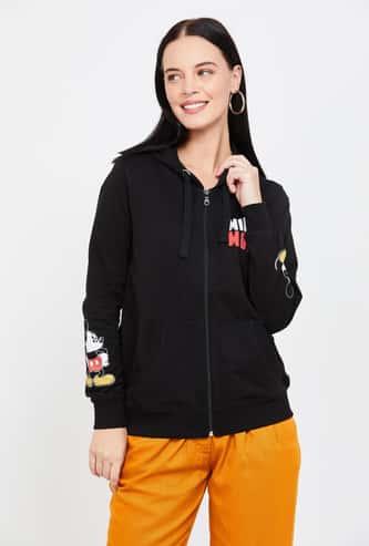 FREE AUTHORITY Mickey Mouse Print Hooded Sweatshirt