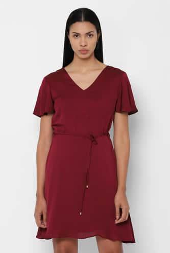ALLEN SOLLY Flutter Sleeves Solid A-line Dress