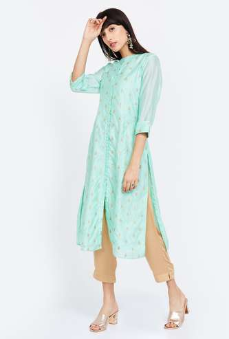 MELANGE Roll-Up Sleeves Embellished A-line Kurta