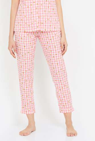 GINGER Women Gingham Check Pyjama Pants