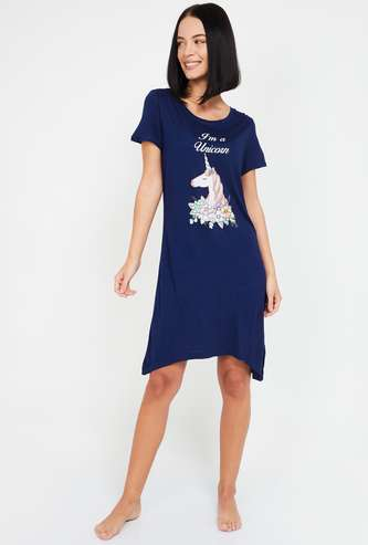 GINGER Women Printed Round Neck Nightdress