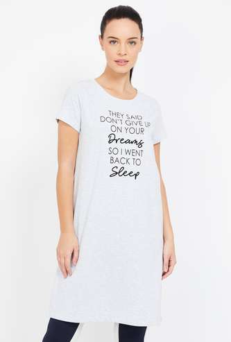 GINGER Typographic Print Short Sleeves Loungewear Top