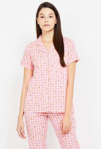 GINGER Women Checked Lounge Shirt