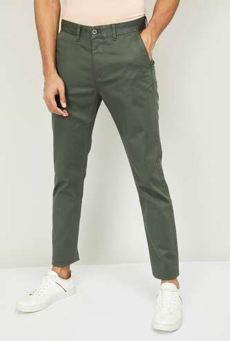 CODE Men Solid Slim Tapered Casual Trousers