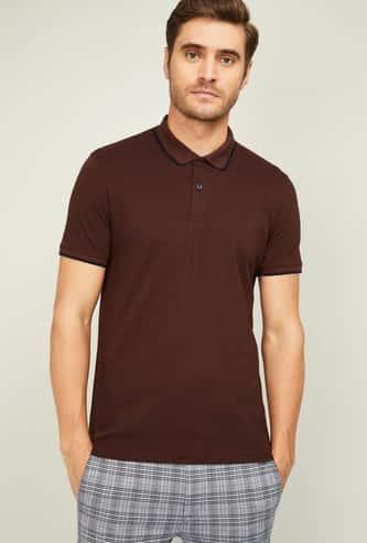 CODE Men Textured Regular Fit Polo T-shirt