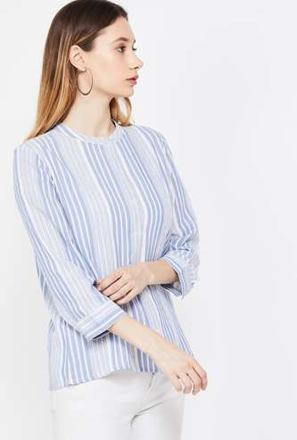 FAME FOREVER Striped Three-quarter Sleeves Shirt