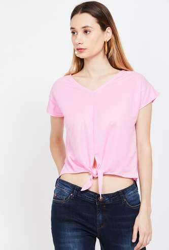 FAME FOREVER Solid Cap Sleeves Top