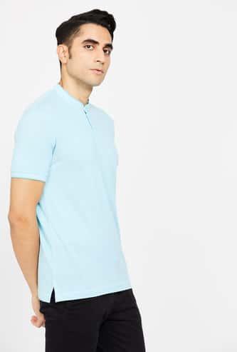 CODE Solid Regular Fit Band Collar T-shirt