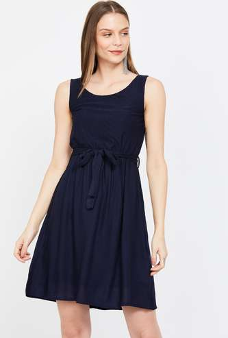 BOSSINI Solid Sleeveless A-line Dress