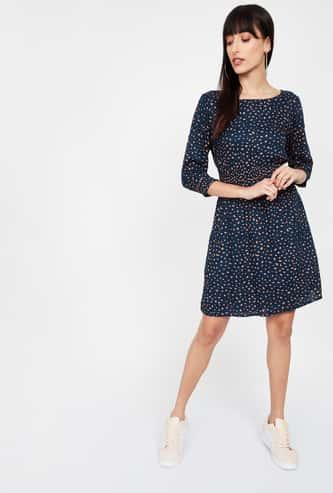 BOSSINI Printed Three-quarter Sleeves A-line Dress