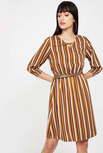 BOSSINI Striped Fit & Flare Dress with Detachable Belt