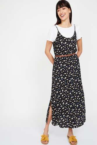 BOSSINI Floral Printed Dress with a Solid Top