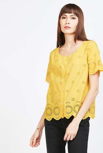 BOSSINI Schiffli Top with Scalloped Hemline