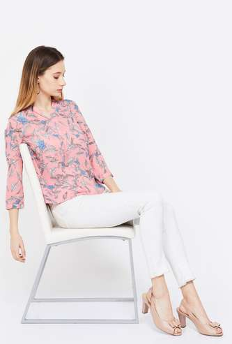 BOSSINI Printed Collared Top
