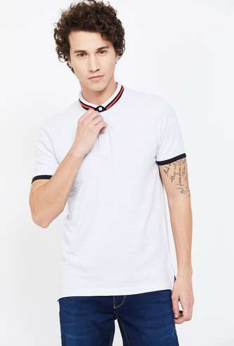 FAME FOREVER Solid Regular Fit Polo T-shirt