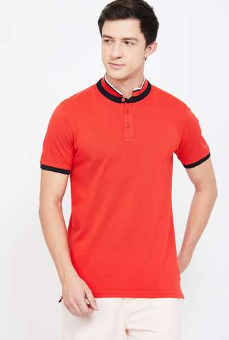 FAME FOREVER Solid Regular Fit Polo T-shirt with Stand Collar
