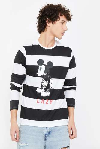 FAME FOREVER Mickey Mouse Print Striped Regular Fit T-shirt