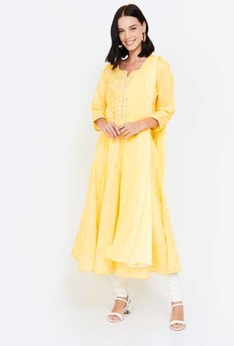 MELANGE Women A-line Kurta with Churidar & Dupatta