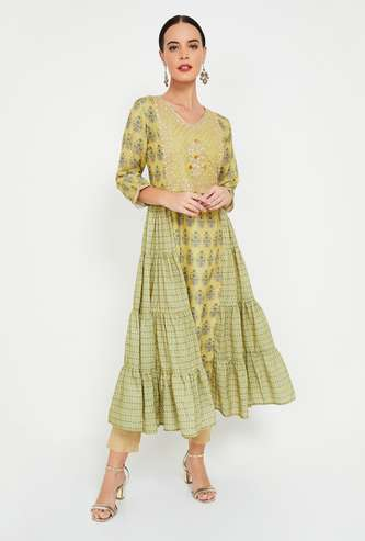 MELANGE Printed Flared Kurta with Zari