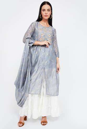 MELANGE Embroidered Layered Straight Kurta with Draped Dupatta