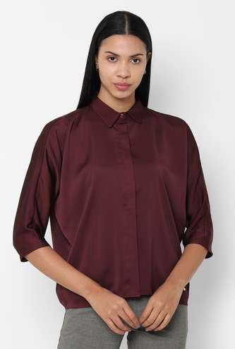 ALLEN SOLLY Solid Three-Quarter Sleeves Shirt